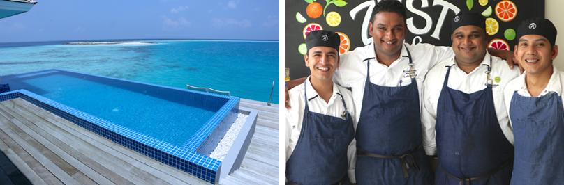 Auch nicht schlecht: Overwater Villas mit eigenem Pool. Rechts: die Show-Köche – stets zu Diensten.